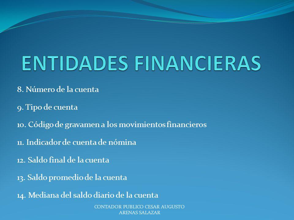 8. Número de la cuenta 9. Tipo de cuenta 10. Código de gravamen a los movimientos financieros 11. Indicador de cuenta de nómina 12. Saldo final de la