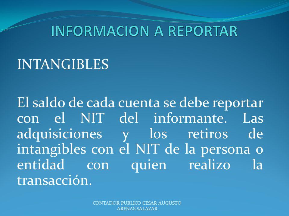 INTANGIBLES El saldo de cada cuenta se debe reportar con el NIT del informante. Las adquisiciones y los retiros de intangibles con el NIT de la person