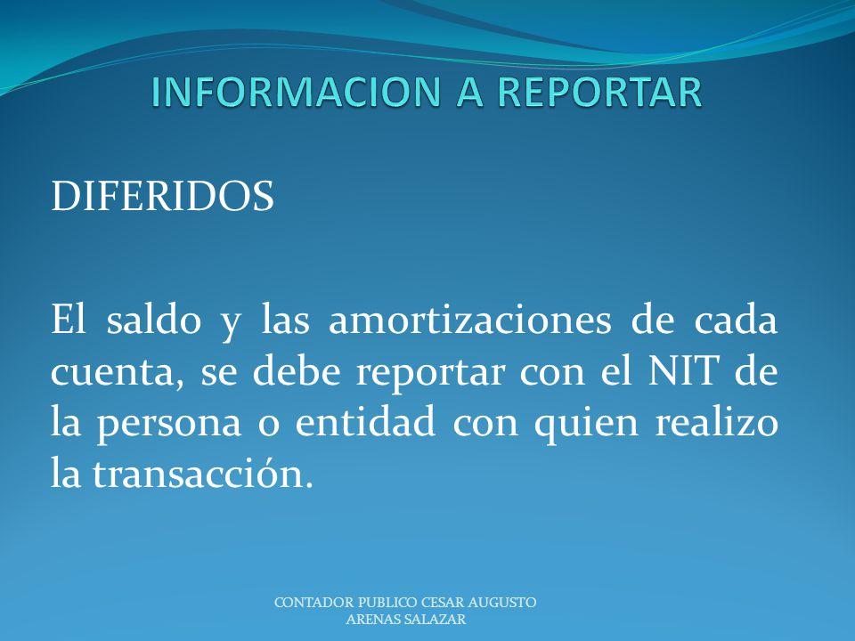 DIFERIDOS El saldo y las amortizaciones de cada cuenta, se debe reportar con el NIT de la persona o entidad con quien realizo la transacción. CONTADOR