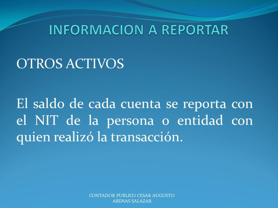 OTROS ACTIVOS El saldo de cada cuenta se reporta con el NIT de la persona o entidad con quien realizó la transacción. CONTADOR PUBLICO CESAR AUGUSTO A