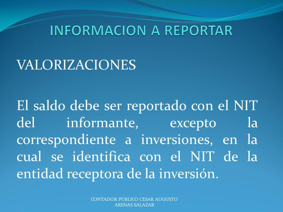VALORIZACIONES El saldo debe ser reportado con el NIT del informante, excepto la correspondiente a inversiones, en la cual se identifica con el NIT de