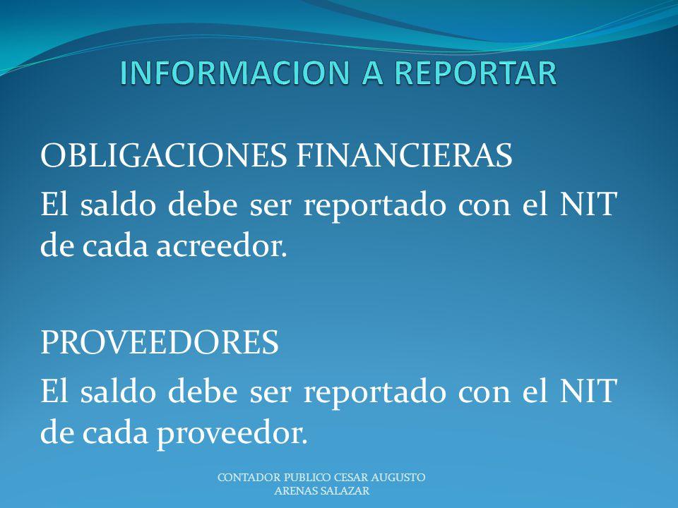 OBLIGACIONES FINANCIERAS El saldo debe ser reportado con el NIT de cada acreedor. PROVEEDORES El saldo debe ser reportado con el NIT de cada proveedor