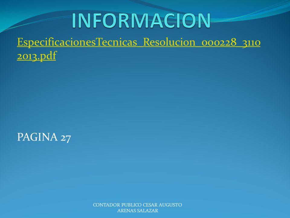 EspecificacionesTecnicas_Resolucion_000228_3110 2013.pdf PAGINA 27 CONTADOR PUBLICO CESAR AUGUSTO ARENAS SALAZAR