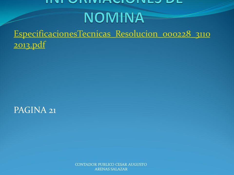 EspecificacionesTecnicas_Resolucion_000228_3110 2013.pdf PAGINA 21 CONTADOR PUBLICO CESAR AUGUSTO ARENAS SALAZAR