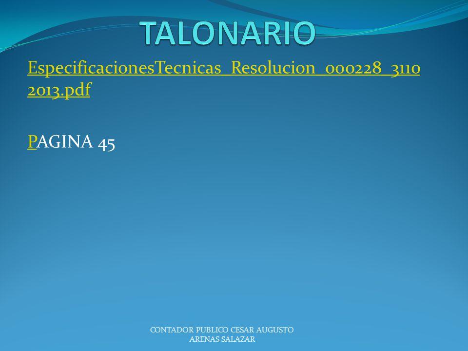 EspecificacionesTecnicas_Resolucion_000228_3110 2013.pdf PPAGINA 45 CONTADOR PUBLICO CESAR AUGUSTO ARENAS SALAZAR