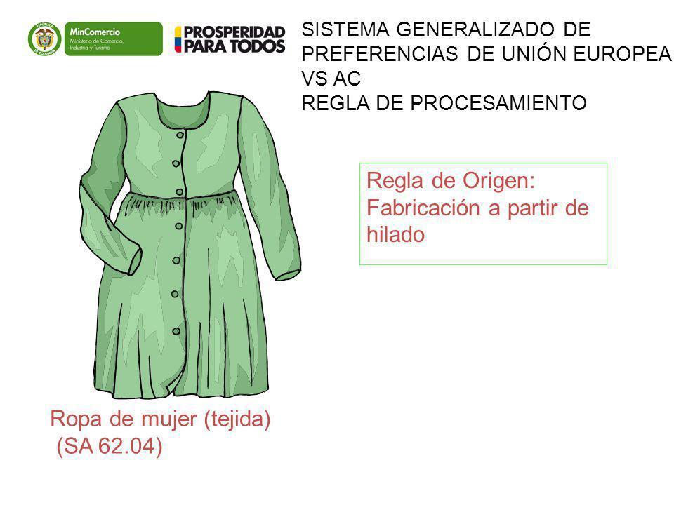 SISTEMA GENERALIZADO DE PREFERENCIAS DE UNIÓN EUROPEA VS AC REGLA DE PROCESAMIENTO Ropa de mujer (tejida) (SA 62.04) Regla de Origen: Fabricación a pa