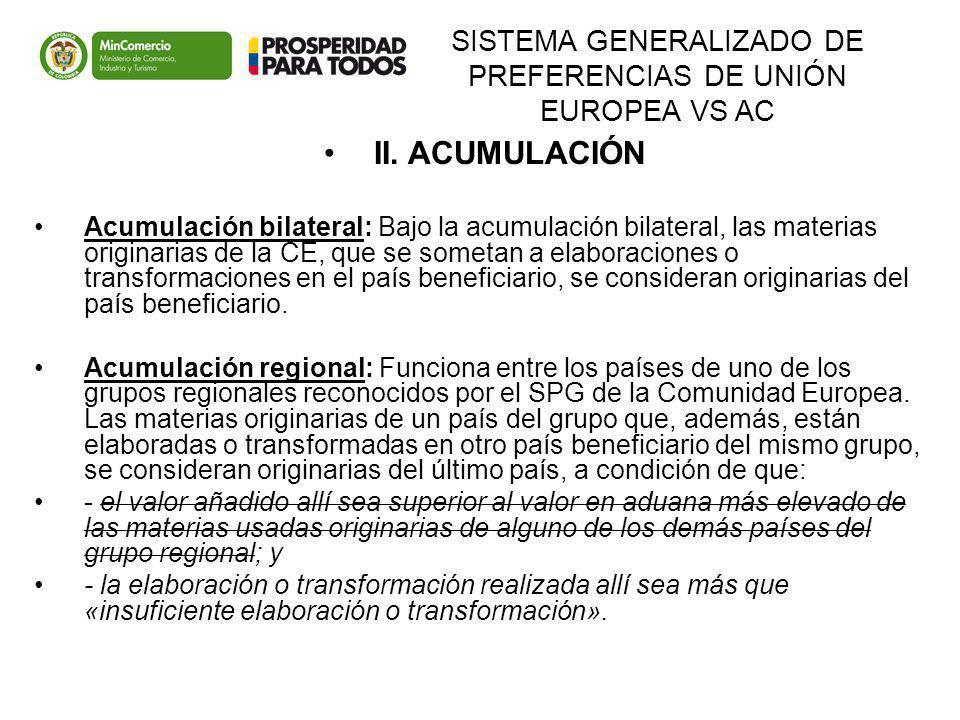 SISTEMA GENERALIZADO DE PREFERENCIAS DE UNIÓN EUROPEA VS AC II. ACUMULACIÓN Acumulación bilateral: Bajo la acumulación bilateral, las materias origina