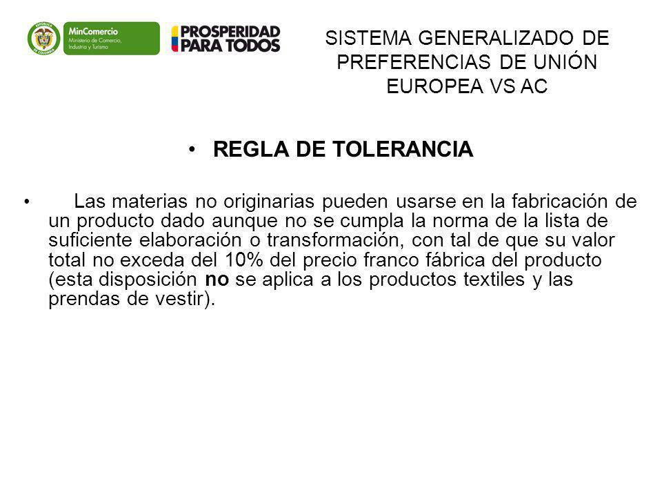 SISTEMA GENERALIZADO DE PREFERENCIAS DE UNIÓN EUROPEA VS AC REGLA DE TOLERANCIA Las materias no originarias pueden usarse en la fabricación de un prod