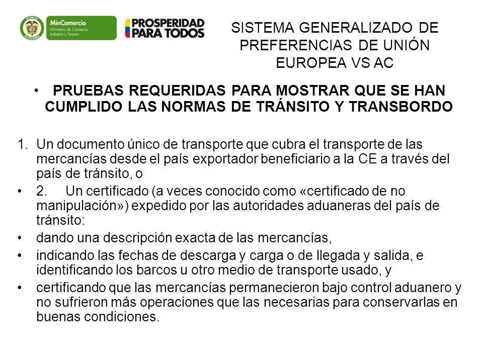 SISTEMA GENERALIZADO DE PREFERENCIAS DE UNIÓN EUROPEA VS AC PRUEBAS REQUERIDAS PARA MOSTRAR QUE SE HAN CUMPLIDO LAS NORMAS DE TRÁNSITO Y TRANSBORDO 1.