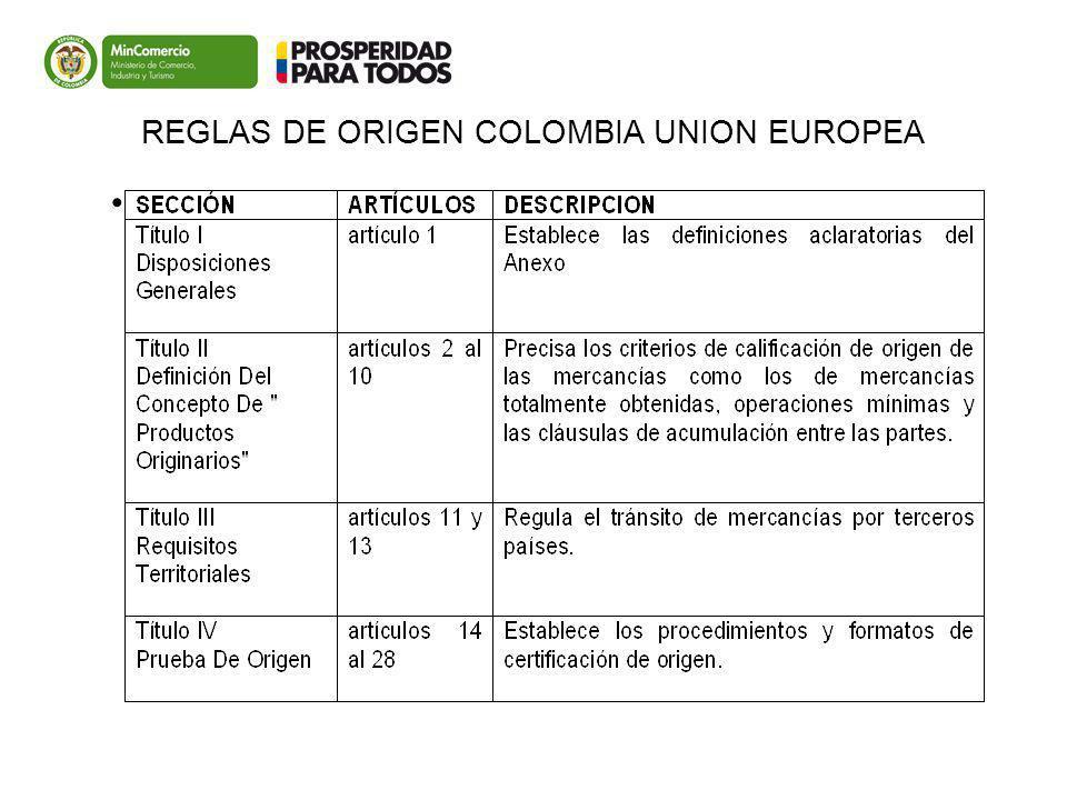 REGLAS DE ORIGEN COLOMBIA UNION EUROPEA