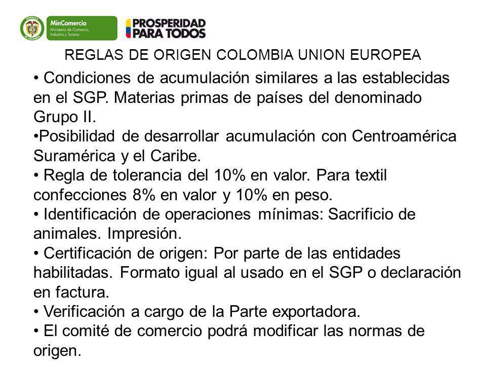 Colombia UE Condiciones de acumulación similares a las establecidas en el SGP. Materias primas de países del denominado Grupo II. Posibilidad de desar