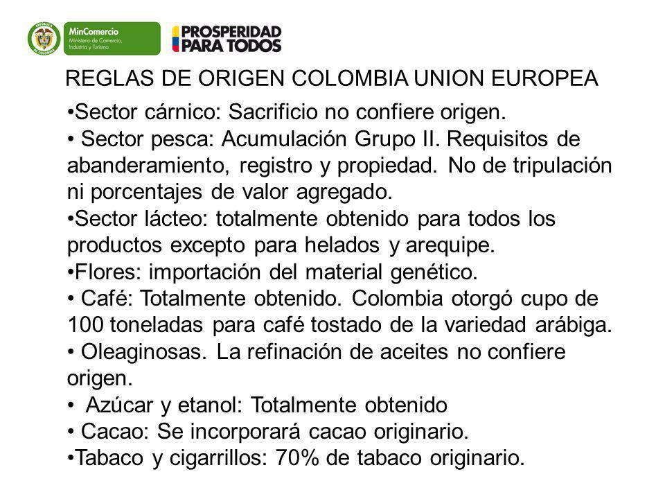 Colombia UE Sector cárnico: Sacrificio no confiere origen. Sector pesca: Acumulación Grupo II. Requisitos de abanderamiento, registro y propiedad. No
