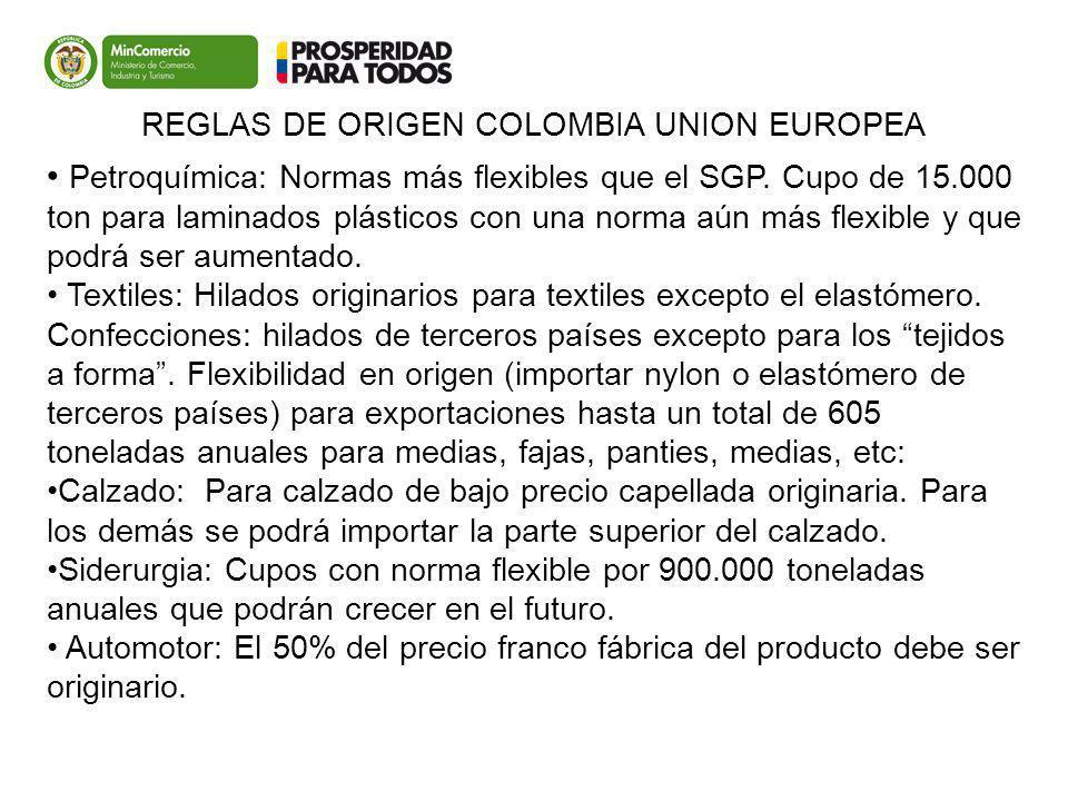 Colombia UE Petroquímica: Normas más flexibles que el SGP. Cupo de 15.000 ton para laminados plásticos con una norma aún más flexible y que podrá ser