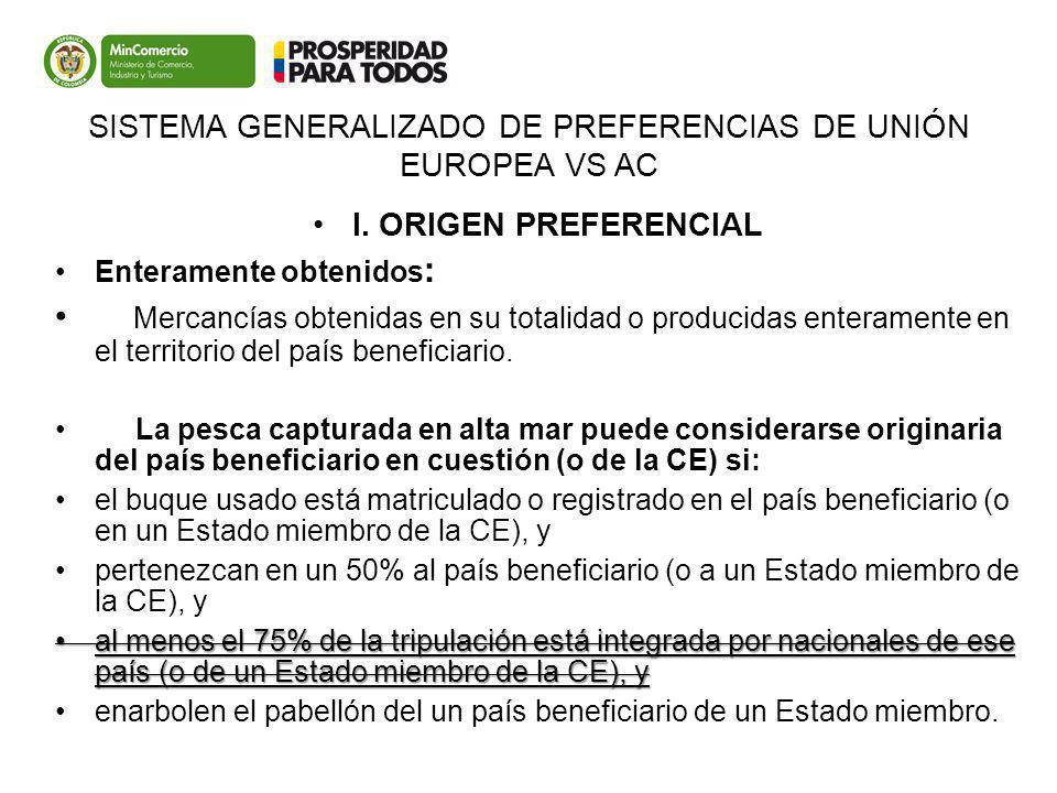 SISTEMA GENERALIZADO DE PREFERENCIAS DE UNIÓN EUROPEA VS AC I. ORIGEN PREFERENCIAL Enteramente obtenidos : Mercancías obtenidas en su totalidad o prod