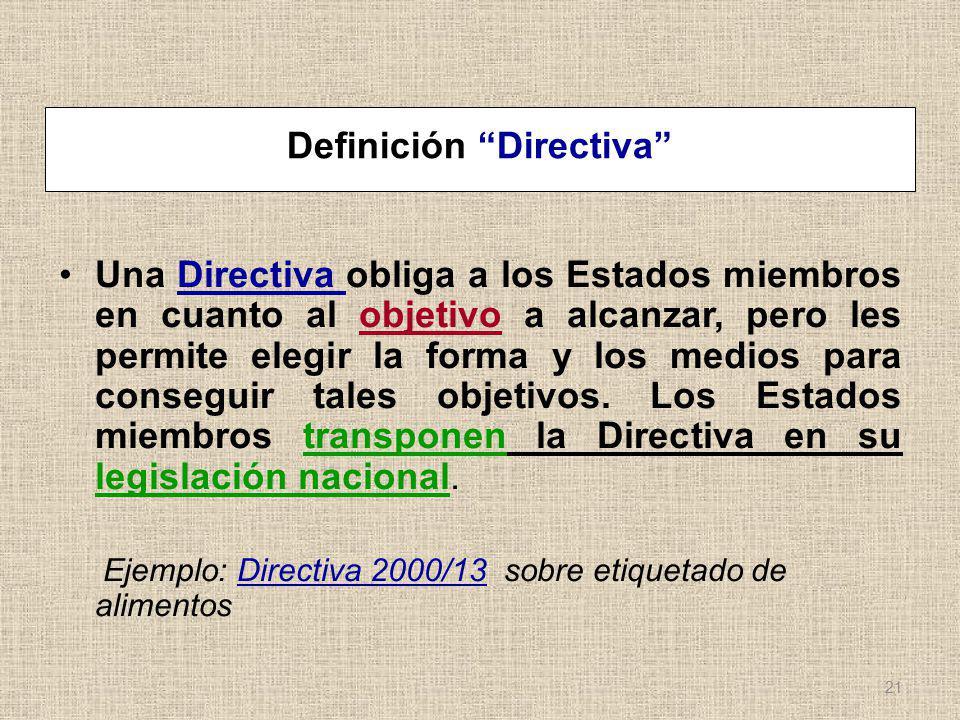 Definición Directiva Una Directiva obliga a los Estados miembros en cuanto al objetivo a alcanzar, pero les permite elegir la forma y los medios para