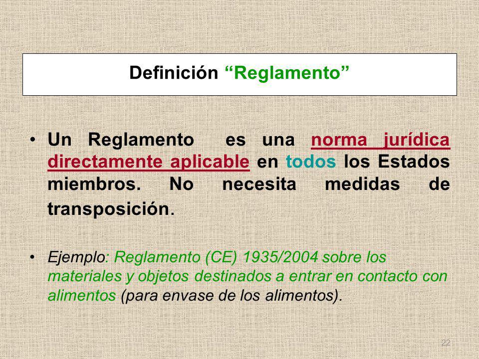 Definición Reglamento Un Reglamento es una norma jurídica directamente aplicable en todos los Estados miembros. No necesita medidas de transposición.