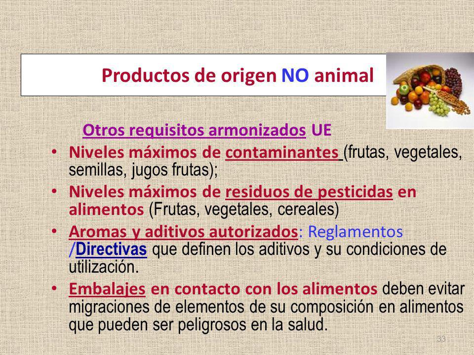Productos de origen NO animal Otros requisitos armonizados UE Niveles máximos de contaminantes (frutas, vegetales, semillas, jugos frutas); Niveles má