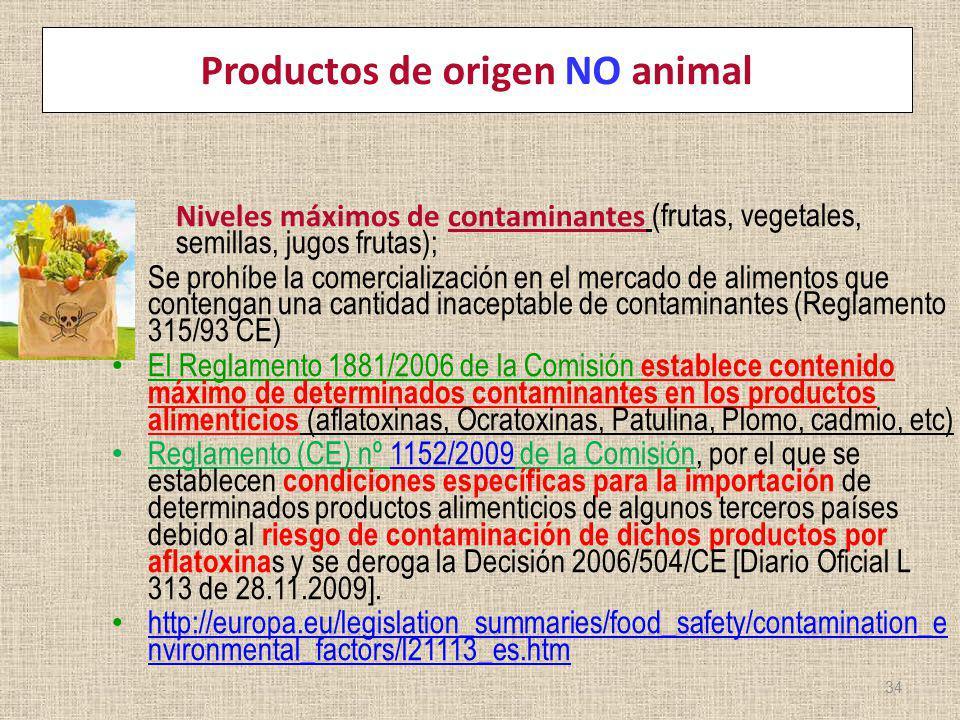 Productos de origen NO animal Niveles máximos de contaminantes (frutas, vegetales, semillas, jugos frutas); Se prohíbe la comercialización en el merca
