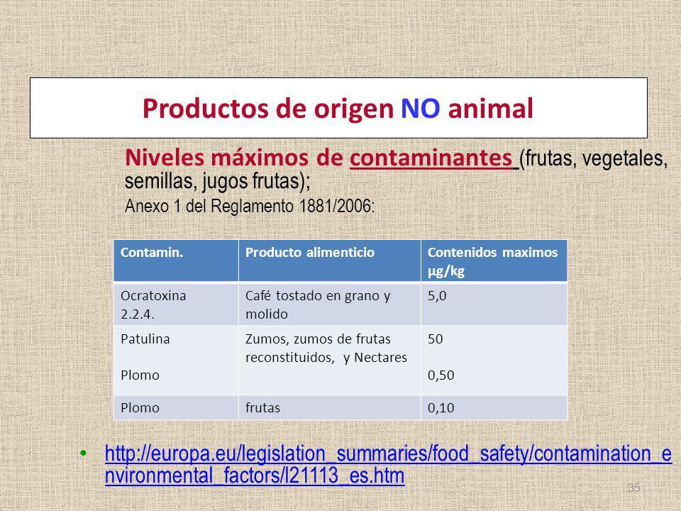 Productos de origen NO animal Niveles máximos de contaminantes (frutas, vegetales, semillas, jugos frutas); Anexo 1 del Reglamento 1881/2006: http://e