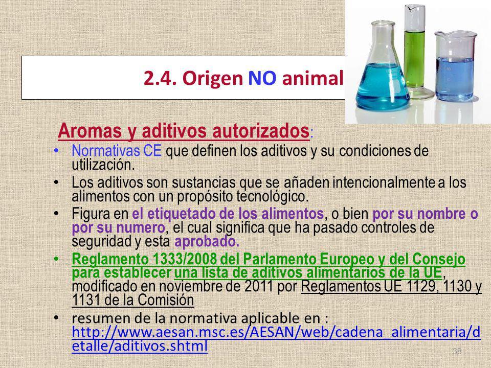 2.4. Origen NO animal Aromas y aditivos autorizados : Normativas CE que definen los aditivos y su condiciones de utilización. Los aditivos son sustanc