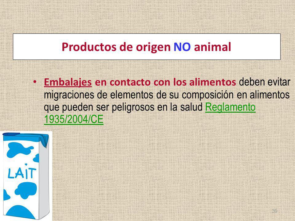 Productos de origen NO animal Embalajes en contacto con los alimentos deben evitar migraciones de elementos de su composición en alimentos que pueden