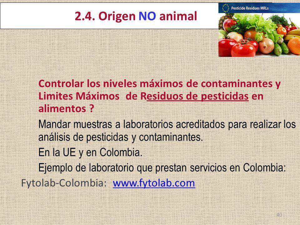 ereira 22 Marzo 2012 2.4. Origen NO animal Controlar los niveles máximos de contaminantes y Limites Máximos de Residuos de pesticidas en alimentos ? M