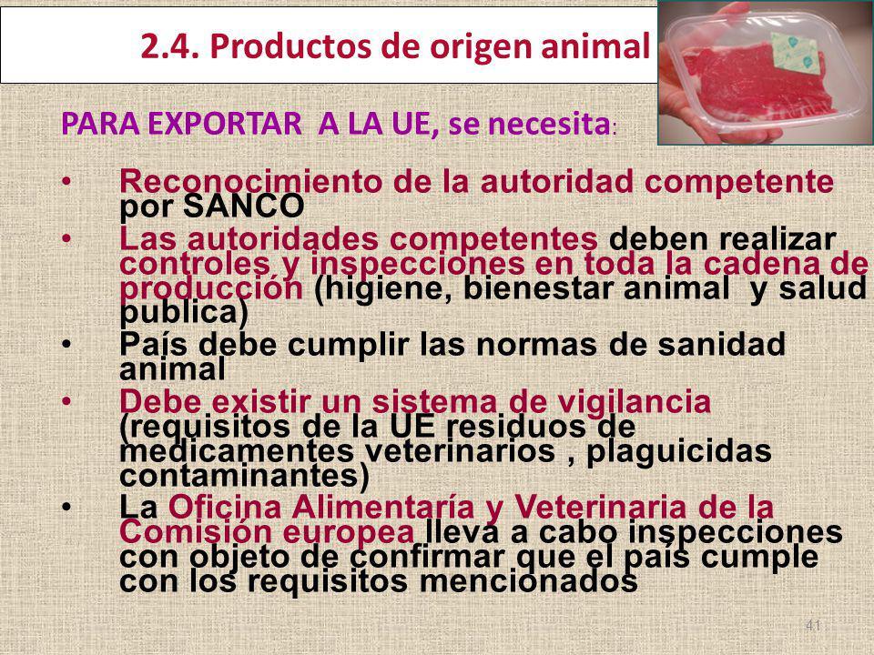 2.4. Productos de origen animal PARA EXPORTAR A LA UE, se necesita : Reconocimiento de la autoridad competente por SANCO Las autoridades competentes d