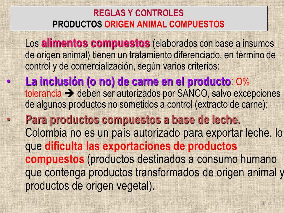 REGLAS Y CONTROLES PRODUCTOS ORIGEN ANIMAL COMPUESTOS alimentos compuestos Los alimentos compuestos (elaborados con base a insumos de origen animal) t