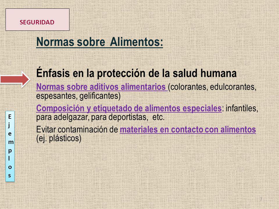 Normas sobre Alimentos: Énfasis en la protección de la salud humana Normas sobre aditivos alimentarios (colorantes, edulcorantes, espesantes, gelifica