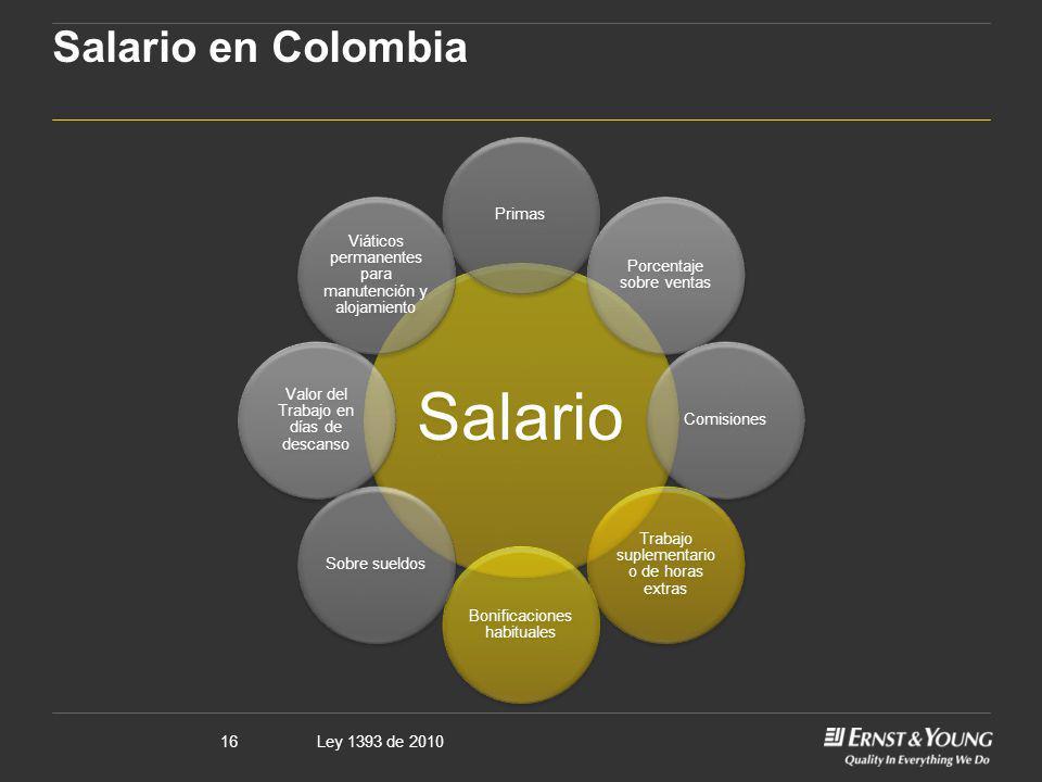 Ley 1393 de 201016 Salario en Colombia Salario Primas Porcentaje sobre ventas Comisiones Trabajo suplementario o de horas extras Bonificaciones habitu