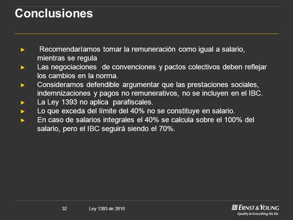 Ley 1393 de 201032 Conclusiones Recomendaríamos tomar la remuneración como igual a salario, mientras se regula Las negociaciones de convenciones y pac