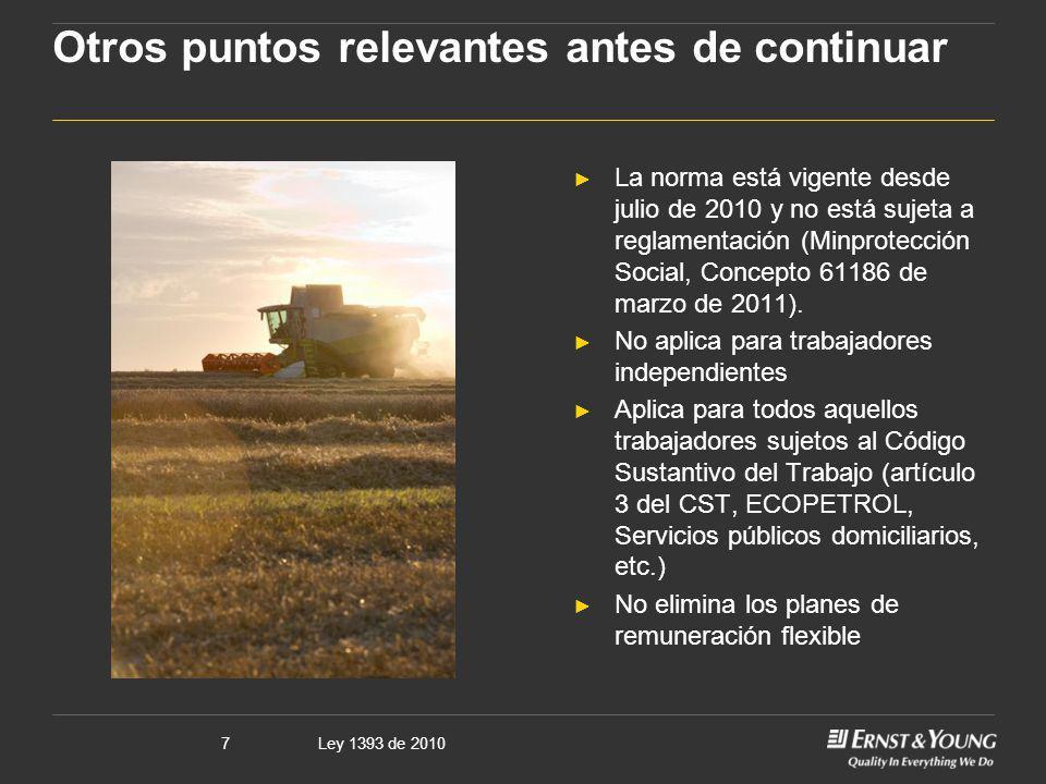 Ley 1393 de 20107 Otros puntos relevantes antes de continuar La norma está vigente desde julio de 2010 y no está sujeta a reglamentación (Minprotecció
