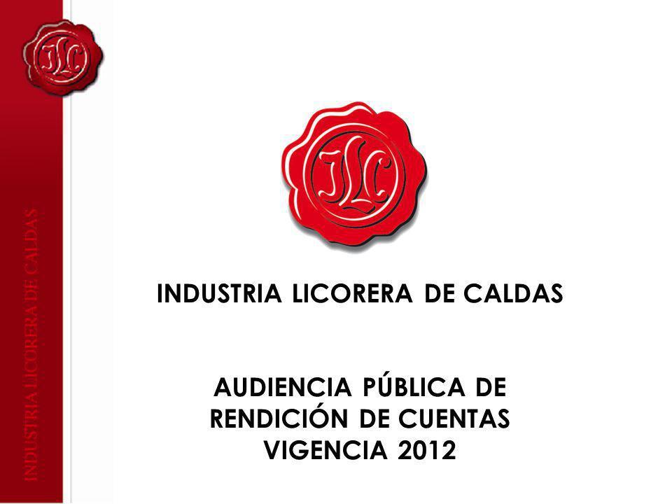 INDUSTRIA LICORERA DE CALDAS AUDIENCIA PÚBLICA DE RENDICIÓN DE CUENTAS VIGENCIA 2012