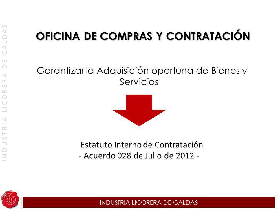 INDUSTRIA LICORERA DE CALDAS OFICINA DE COMPRAS Y CONTRATACIÓN Garantizar la Adquisición oportuna de Bienes y Servicios Estatuto Interno de Contrataci