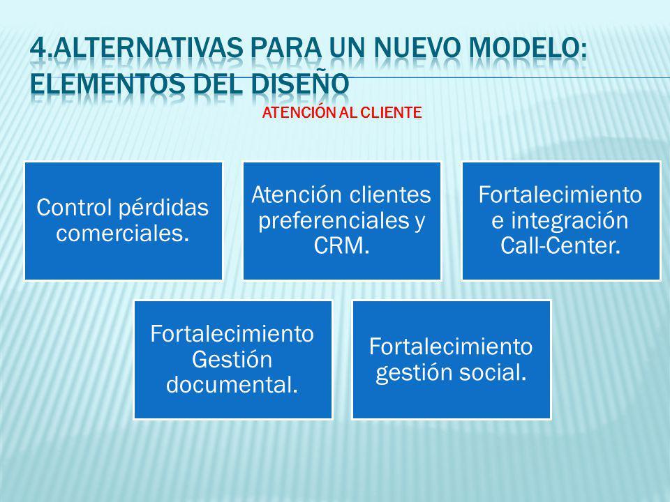 Control pérdidas comerciales. Atención clientes preferenciales y CRM.