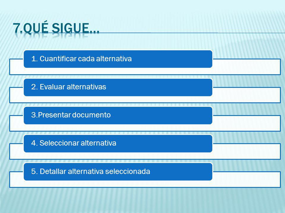 1. Cuantificar cada alternativa2. Evaluar alternativas3.Presentar documento4.