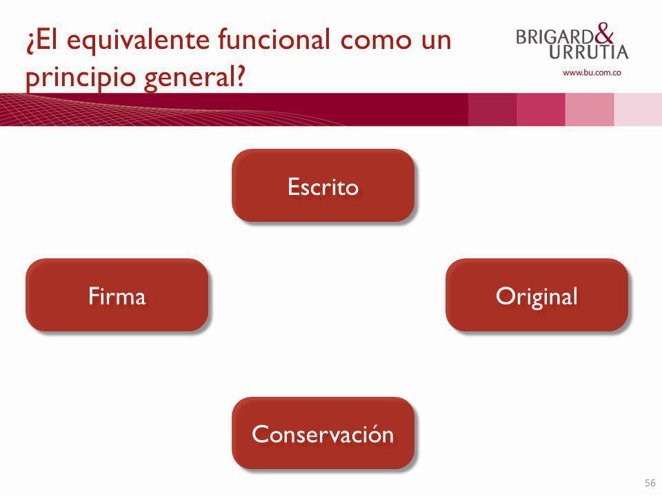 56 ¿El equivalente funcional como un principio general? Escrito Firma Original Conservación