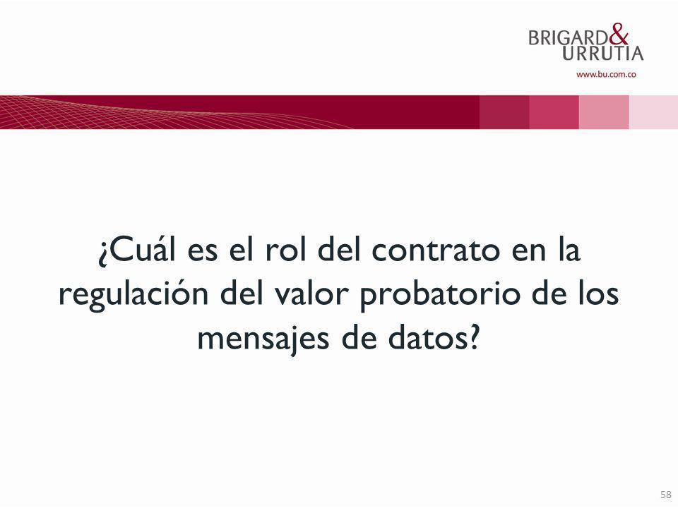 58 ¿Cuál es el rol del contrato en la regulación del valor probatorio de los mensajes de datos?