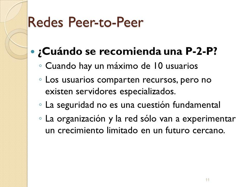 11 Redes Peer-to-Peer ¿Cuándo se recomienda una P-2-P? Cuando hay un máximo de 10 usuarios Los usuarios comparten recursos, pero no existen servidores