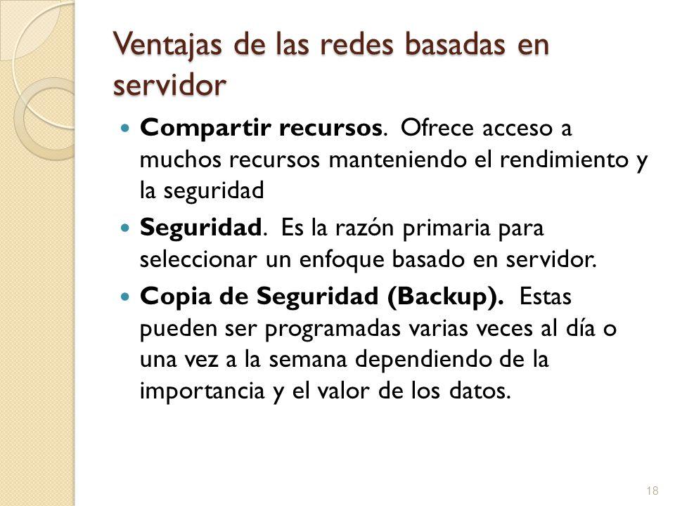 18 Ventajas de las redes basadas en servidor Compartir recursos. Ofrece acceso a muchos recursos manteniendo el rendimiento y la seguridad Seguridad.