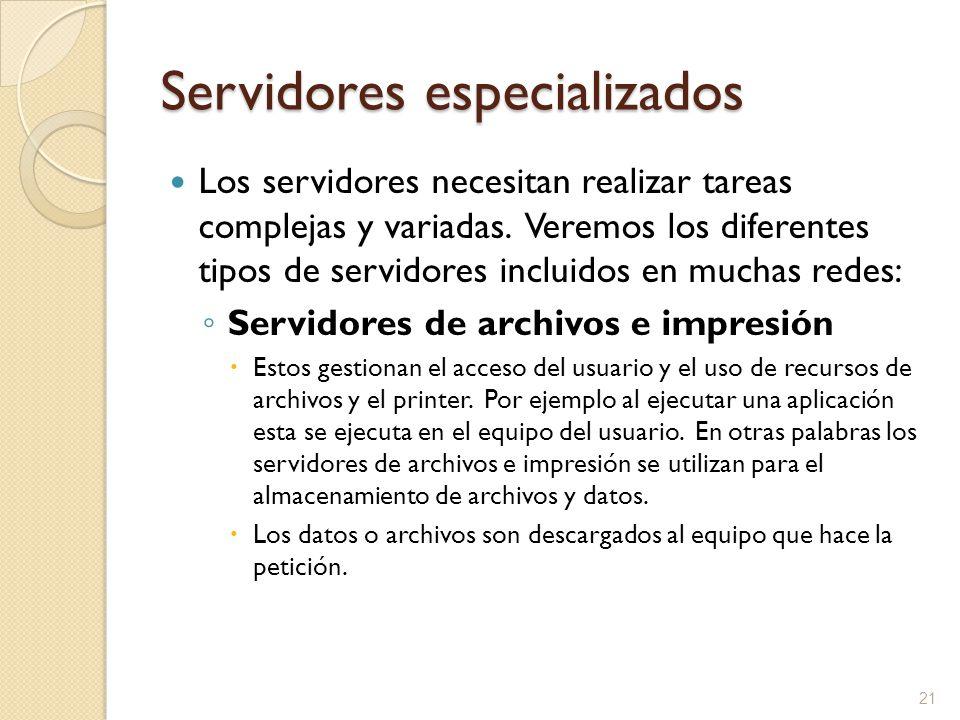 21 Servidores especializados Los servidores necesitan realizar tareas complejas y variadas. Veremos los diferentes tipos de servidores incluidos en mu