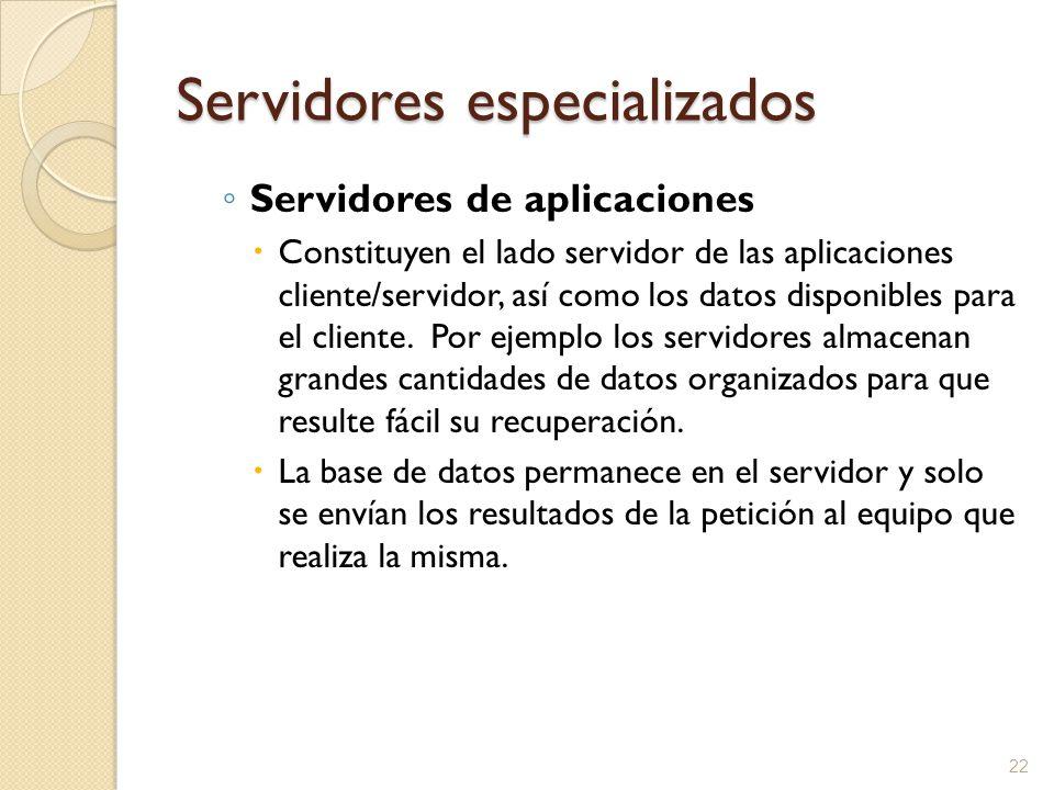 22 Servidores especializados Servidores de aplicaciones Constituyen el lado servidor de las aplicaciones cliente/servidor, así como los datos disponib