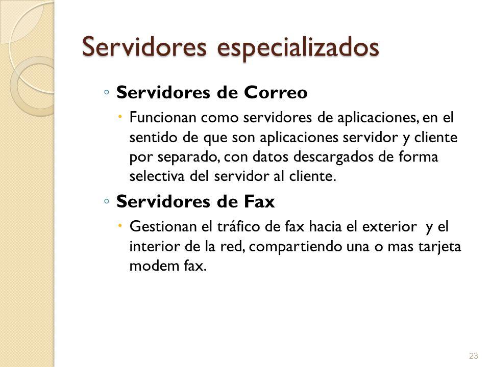 23 Servidores especializados Servidores de Correo Funcionan como servidores de aplicaciones, en el sentido de que son aplicaciones servidor y cliente