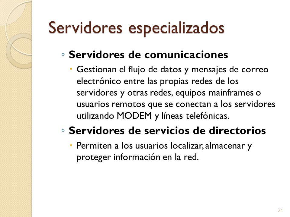 24 Servidores especializados Servidores de comunicaciones Gestionan el flujo de datos y mensajes de correo electrónico entre las propias redes de los