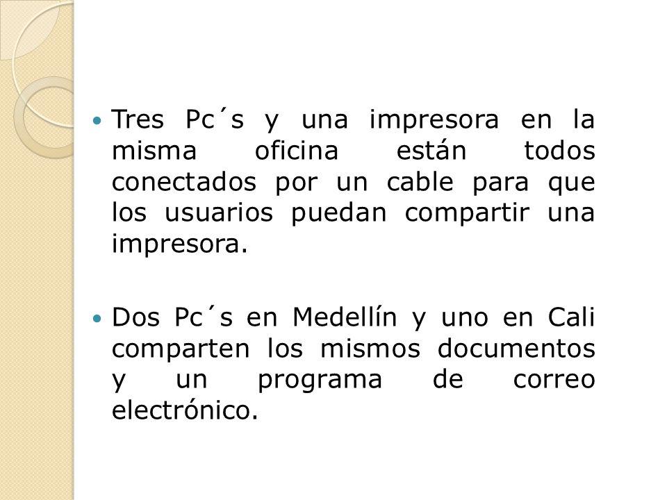 Tres Pc´s y una impresora en la misma oficina están todos conectados por un cable para que los usuarios puedan compartir una impresora. Dos Pc´s en Me