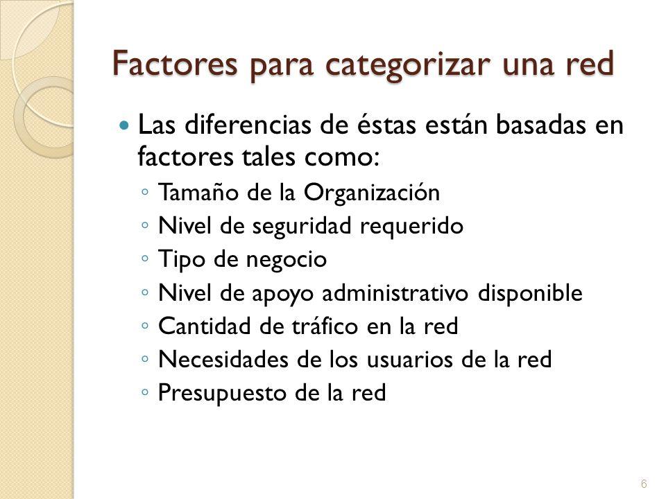 6 Factores para categorizar una red Las diferencias de éstas están basadas en factores tales como: Tamaño de la Organización Nivel de seguridad requer