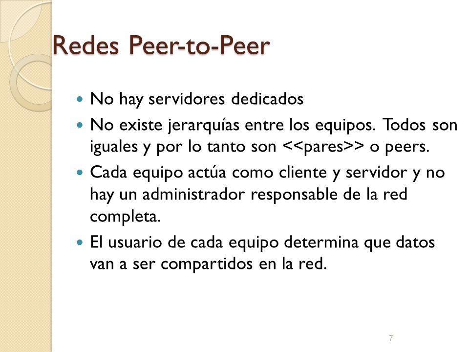 7 Redes Peer-to-Peer No hay servidores dedicados No existe jerarquías entre los equipos. Todos son iguales y por lo tanto son > o peers. Cada equipo a