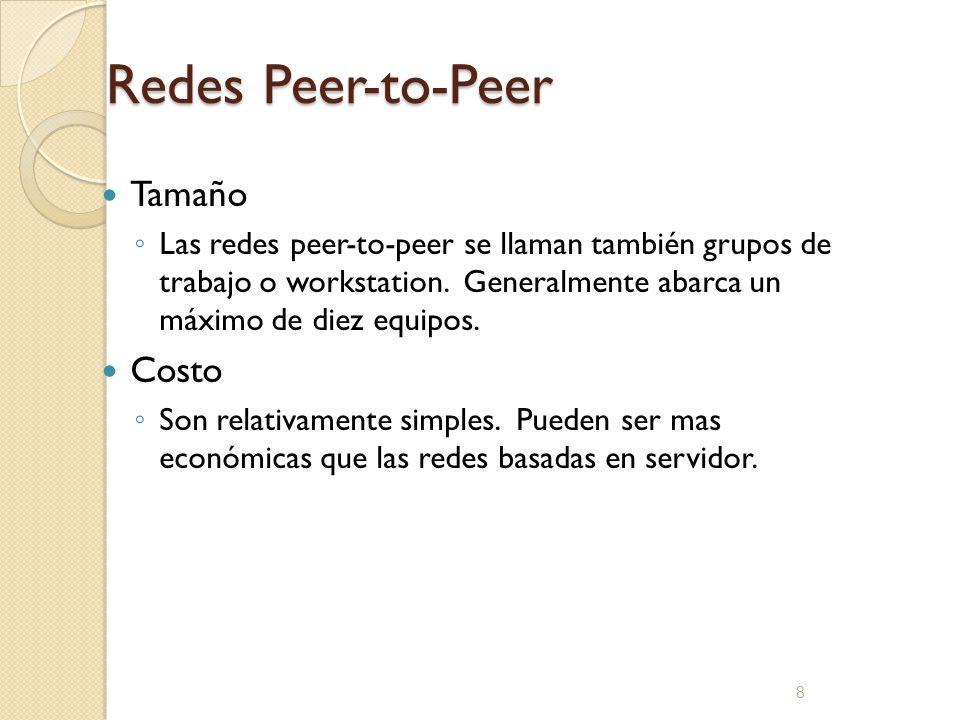 8 Redes Peer-to-Peer Tamaño Las redes peer-to-peer se llaman también grupos de trabajo o workstation. Generalmente abarca un máximo de diez equipos. C