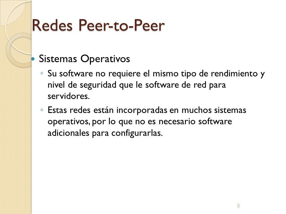 10 Redes Peer-to-Peer Implementación: Ofrece las siguientes ventajas; Los equipos están en las mesas de los usuarios Los usuarios actúan como sus propios administradores y planifican su propia seguridad Los equipos de la red están conectadas por un sistema de cableado simple, fácilmente visible.