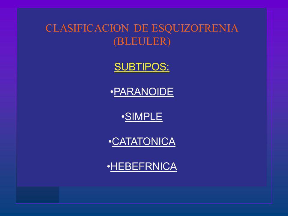CLASIFICACION DE ESQUIZOFRENIA (BLEULER) SUBTIPOS: PARANOIDE SIMPLE CATATONICA HEBEFRNICA